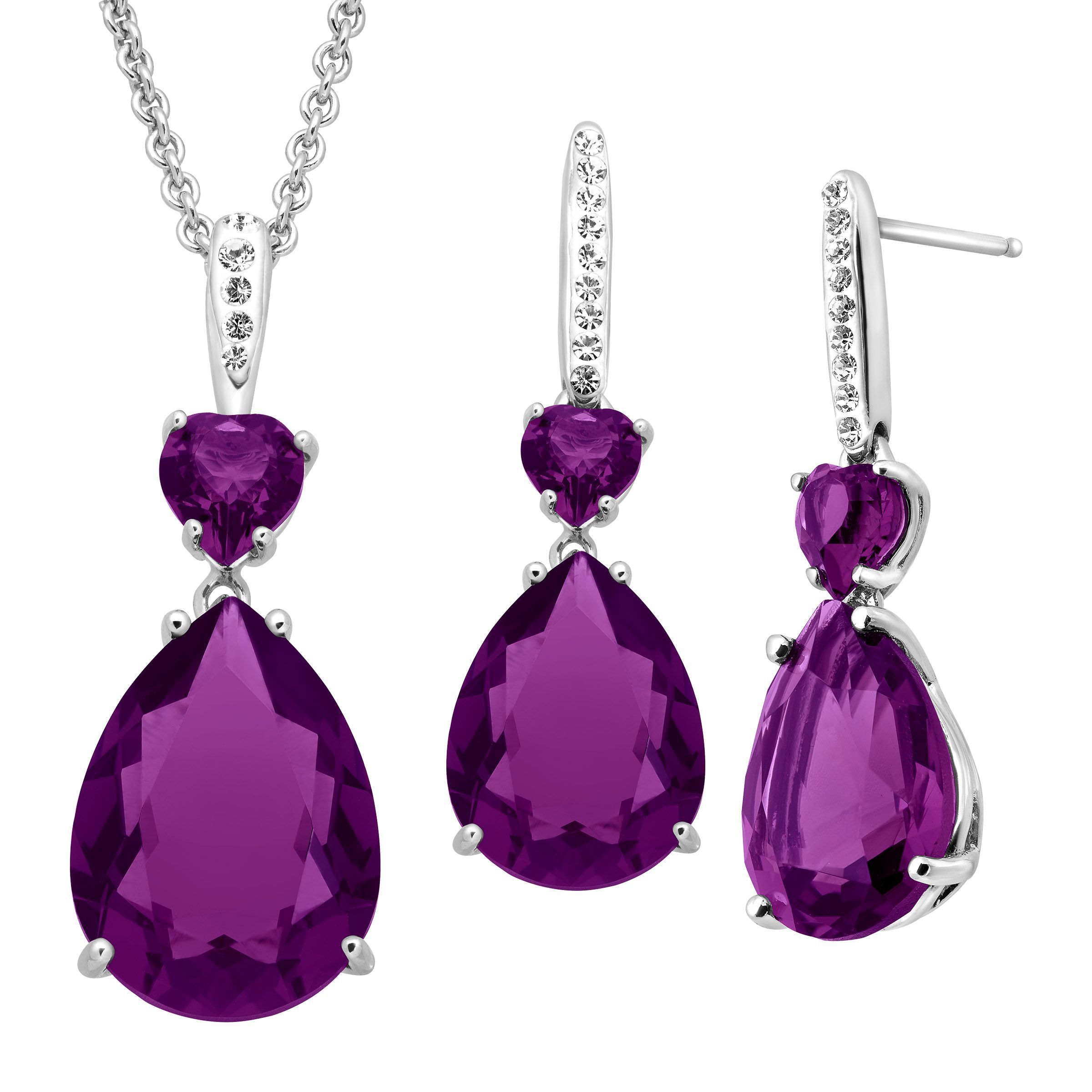 Details About Crystaluxe Pendant Earrings Set With Violet Swarovski Crystals Sterling Silver
