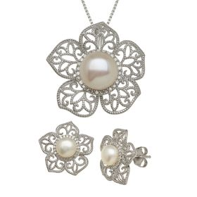 Pearl & 1/4 ct Diamond Flower Pendant & Earring Set