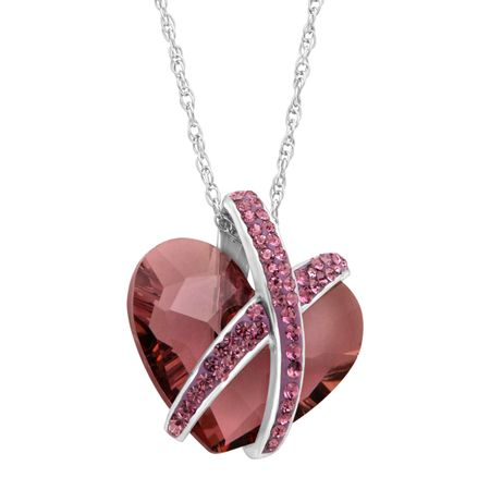 a203b1981 Crystaluxe Wrapped Heart Pendant with Purple Swarovski Crystals in ...