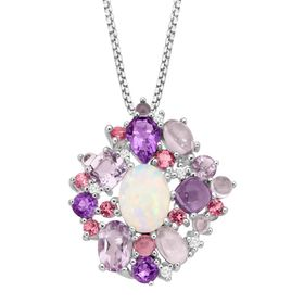 3 1/2 ct Opal, Amethyst & Tourmaline Pendant with Diamonds