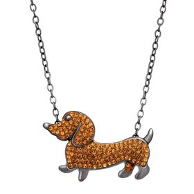 Dachshund Necklace with Swarovski Crystals