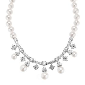 Pearl Strand Garland Necklace with Swarovski Zirconia