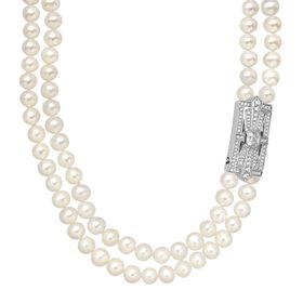 Pearl & Swarovski Zirconia Double-Strand Necklace