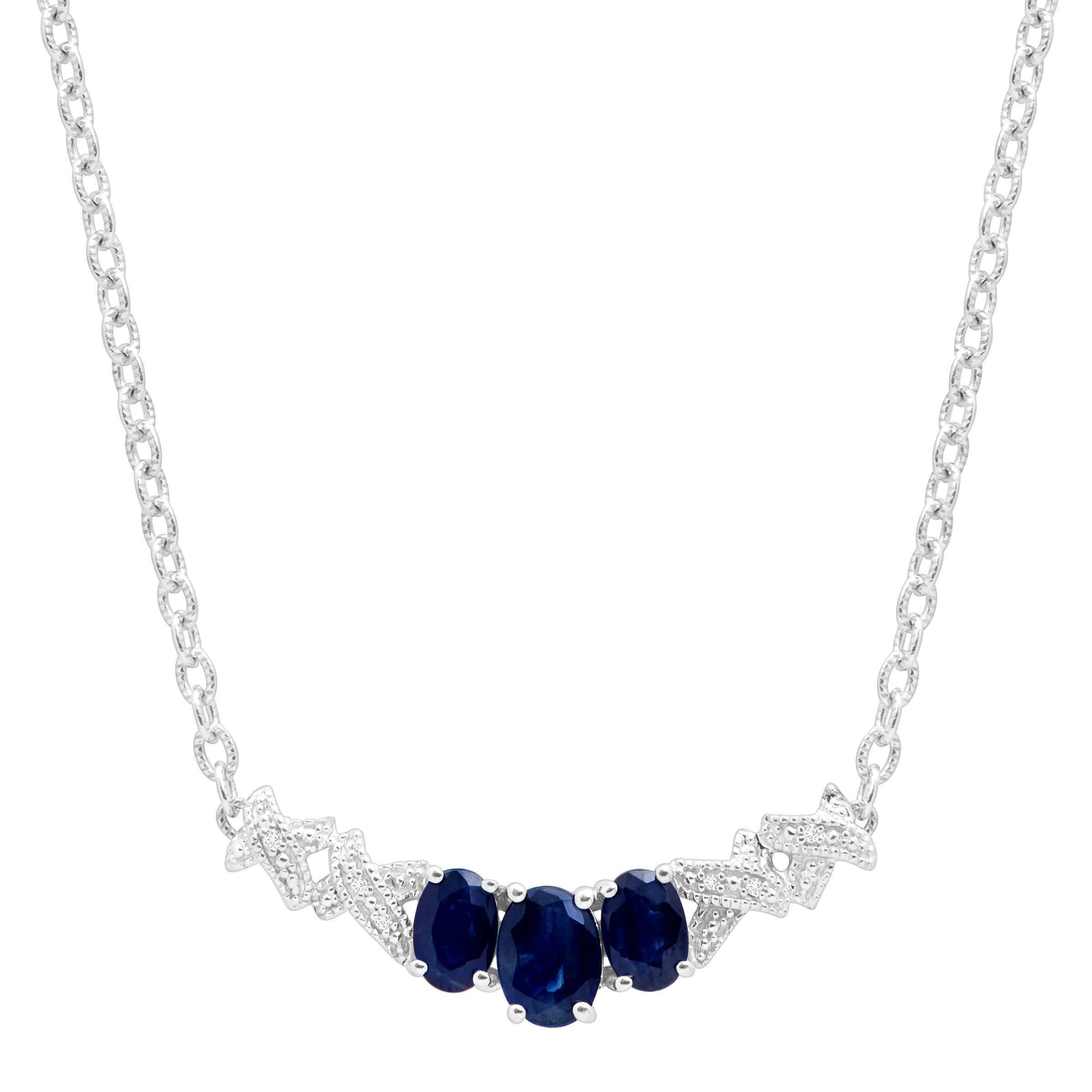 2 1 3 ct created sapphire garland necklace with diamonds. Black Bedroom Furniture Sets. Home Design Ideas