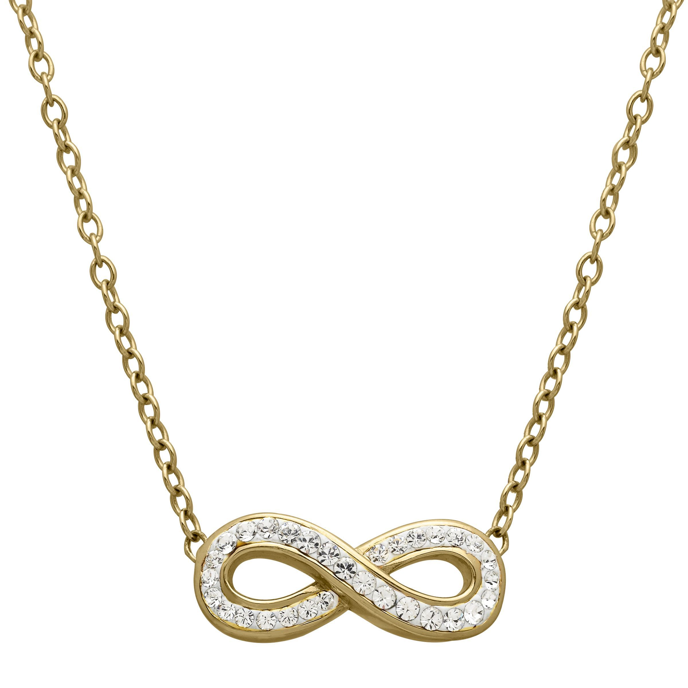 Details about Crystaluxe Infinity Necklace with Swarovski Crystals in 18K  Gold over Silver 8675b3a6f843