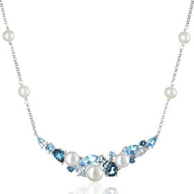 Blue Topaz & Pearl Necklace with Diamonds