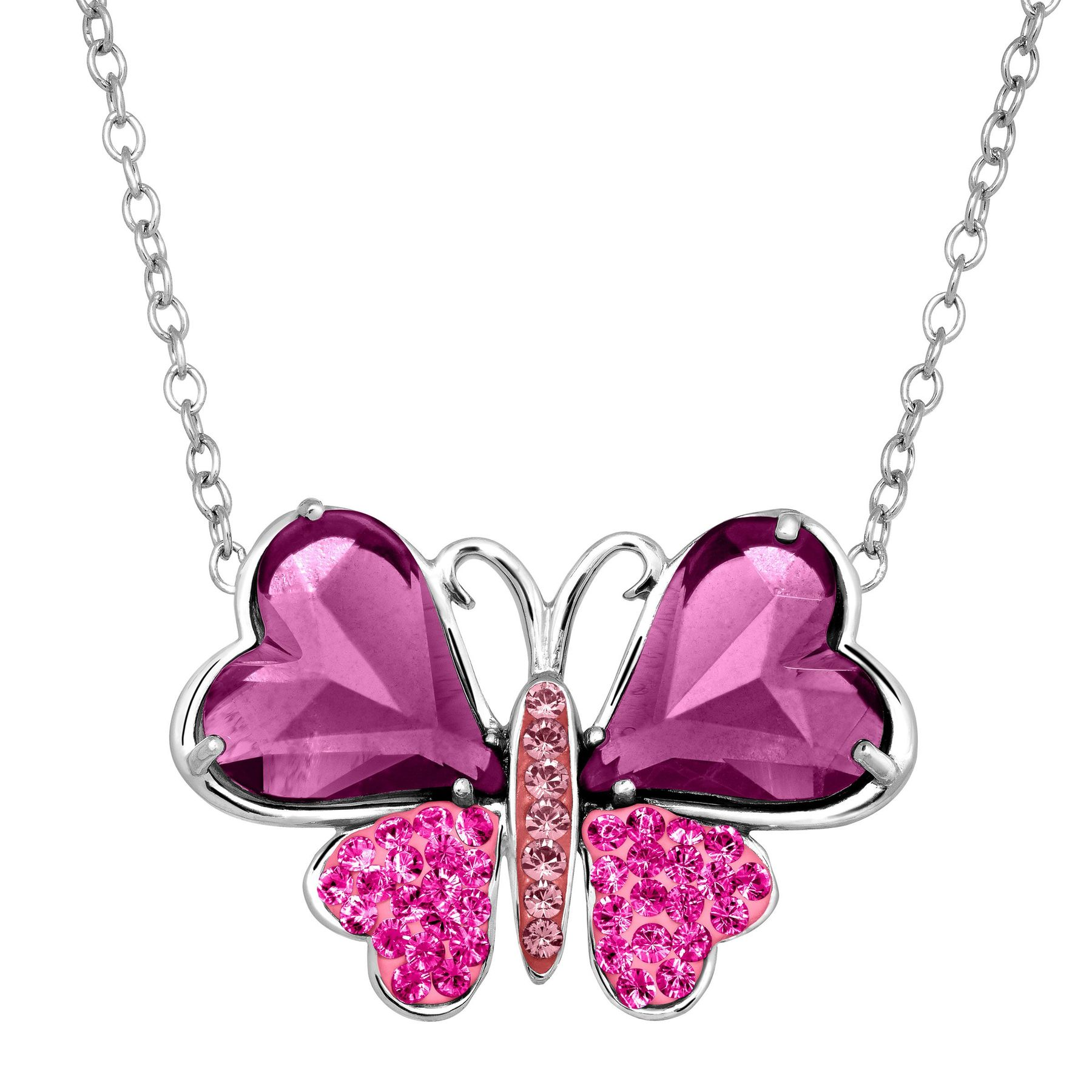 Crystaluxe Two-Tone Butterfly Necklace w/ Swarovski Crystals (Sterling Silver)