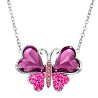 Deals on Crystaluxe Two-Tone Butterfly Necklace w/ Swarovski Crystals