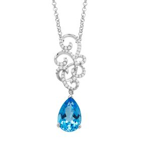 3 1/2 ct Swiss Blue Topaz & 1/5 ct Diamond Swirl Necklace