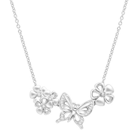 Butterfly & Flowers Necklace with Diamonds