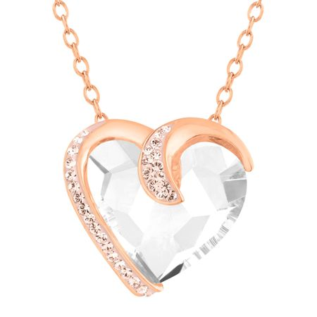 57f65f3df9f339 Crystaluxe Heart Necklace with Swarovski Crystals in 18K Rose Gold ...