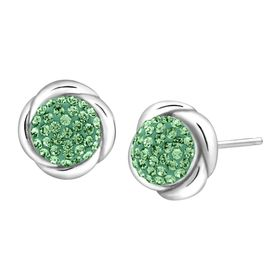 Button Stud Earrings with Green Swarovski Crystals