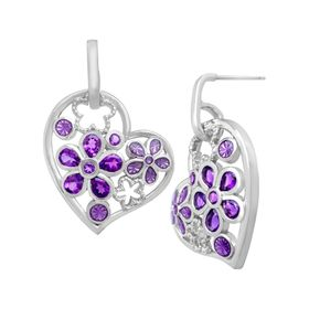 1 5/8 ct Amethyst Heart Drop Earrings