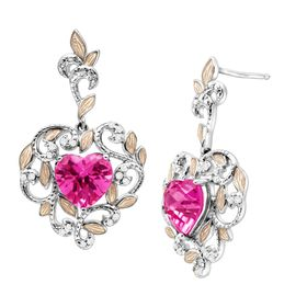 5 1/5 Pink Sapphire & White Topaz Heart Drop Earrings