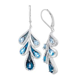 3 5/8 ct Multi-Topaz Drop Earrings