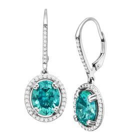 Oval Drop Earrings with Teal Swarovski Zirconia