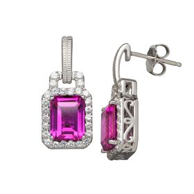 6 3/8 ct Purple & White Sapphire Drop Earrings