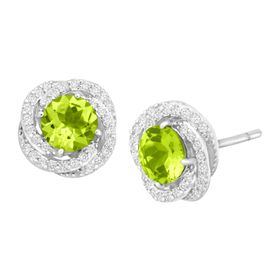2 1/3 ct Peridot & White Sapphire Stud Earrings