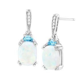 3 ct Opal & Topaz Drop Earrings with Diamonds