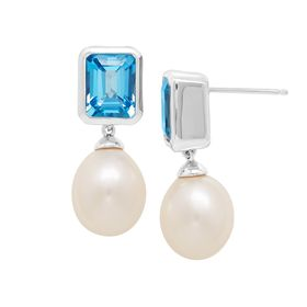 5 5/8 ct Swiss Blue Topaz & Pearl Drop Earrings