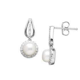 Pearl & 1/5 ct Diamond Drop Earrings