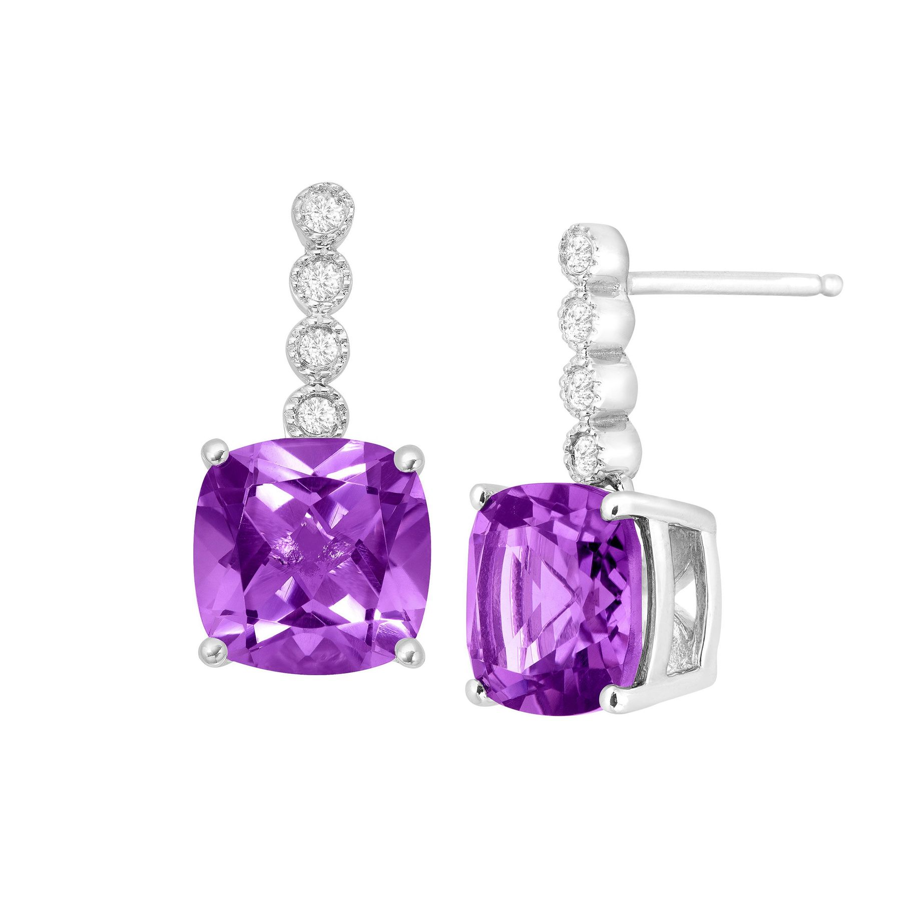 4 Ct Amethyst Drop Earrings With Diamonds