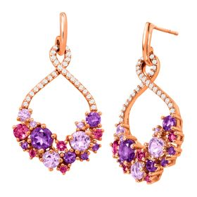 2 7/8 ct Amethyst & Pink Tourmaline Drop Earrings