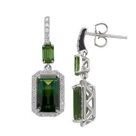 Drop Earrings with Green Swarovski Zirconia
