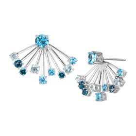 3 1/3 ct Multi Blue Topaz Front-Back Earrings