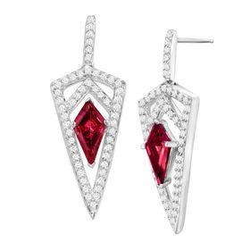 Dagger Drop Earrings with Red & White Swarovski Zirconia