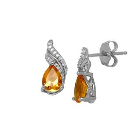 1 1/5 ct Citrine & 1/10 ct Diamond Earrings