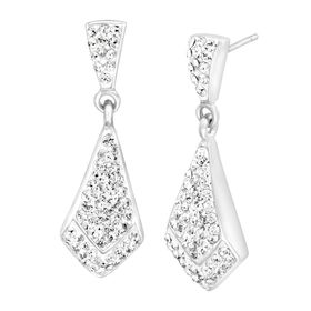 White-Shape Drop Earrings with Swarovski Crystals