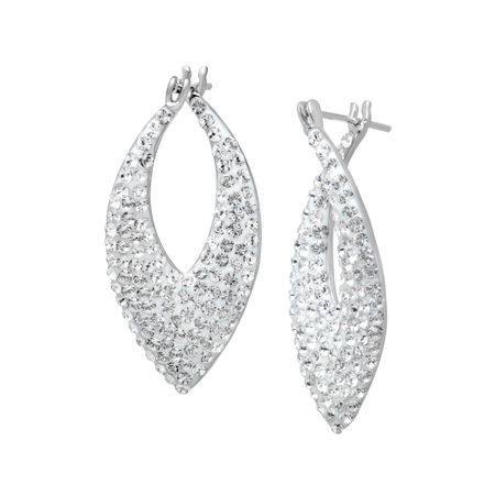 Pointed Hoop Earrings with Swarovski Crystal