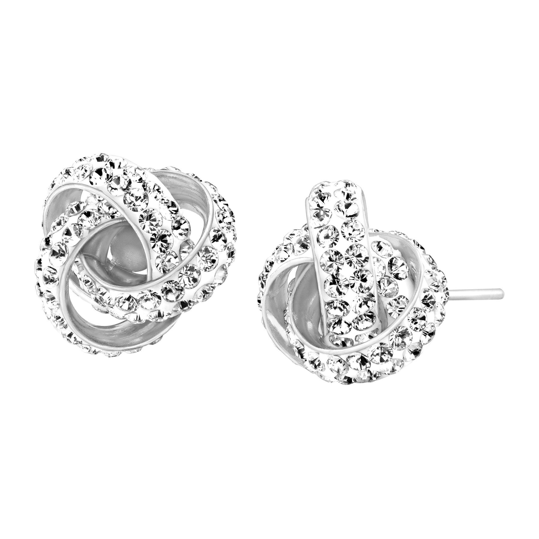 Love Knot Stud Earrings With Swarovski Crystals
