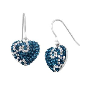 Swirl Heart Earrings with Swarovski Crystals
