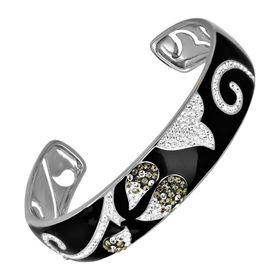 Black Enamel Cuff Bracelet with Swarovski Crystals