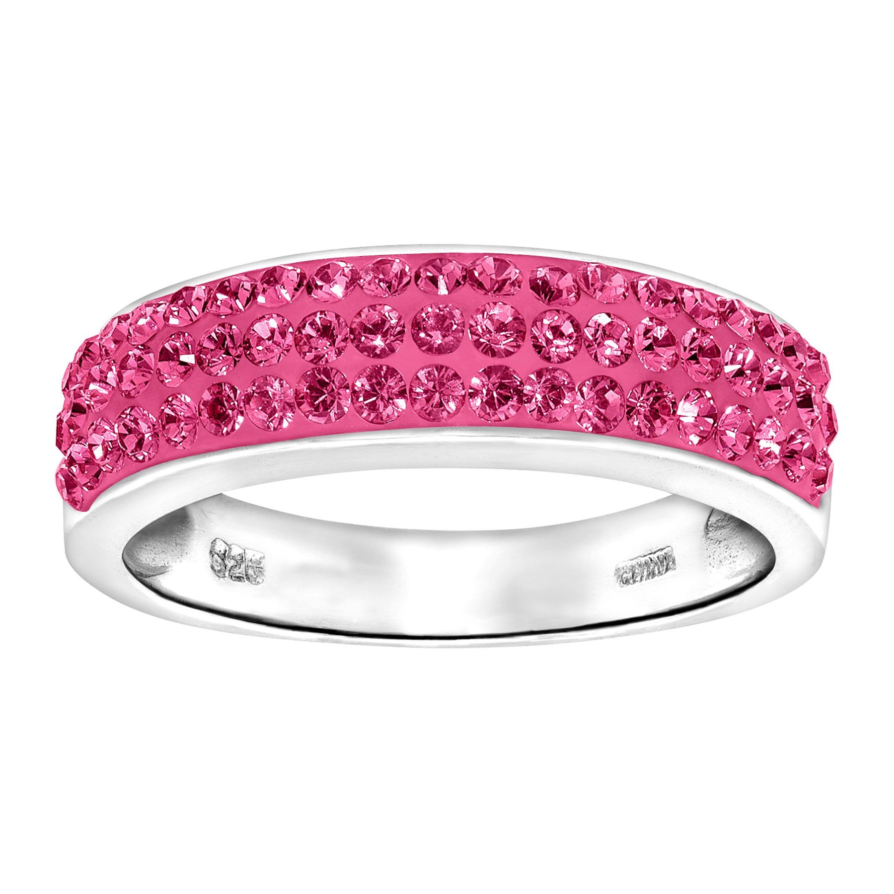 Crystaluxe Band Ring with Pink Swarovski Crystals in Sterling Silver ...