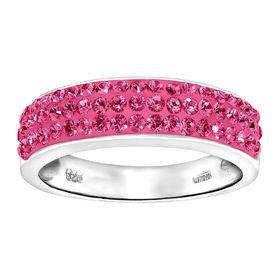 Band Ring with Pink Swarovski Crystals