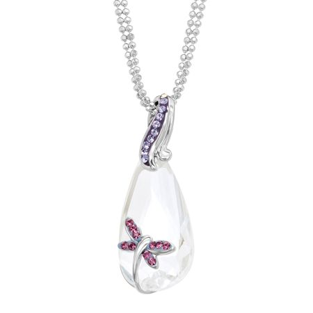 Dragonfly Pendant with White & Purple Swarovski Crystals