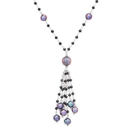7-11 mm Black Pearl & Spinel Tassel Necklace