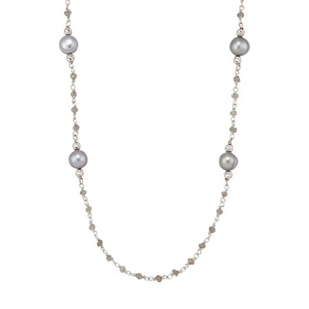 8-9 mm Grey Pearl & Spinel Necklace