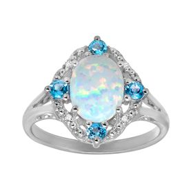 1 1/6 ct Opal & Swiss Blue Topaz Ring with Diamonds