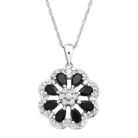 7/8 ct Onyx Flower Pendant with Diamonds