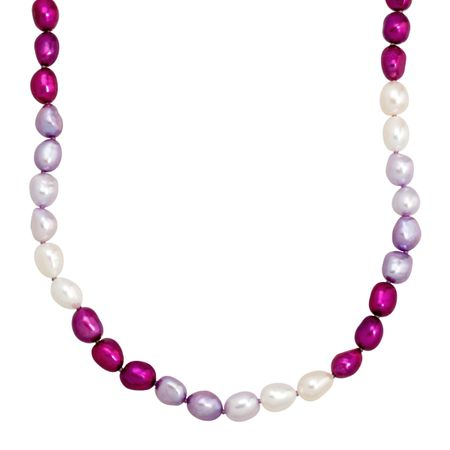 7-8 mm Purple & White Pearl Strand Necklace