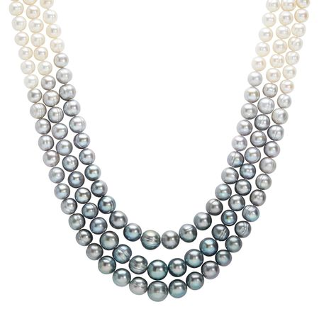 7-11 mm Grey & White Pearl Ombré 3-Strand Necklace