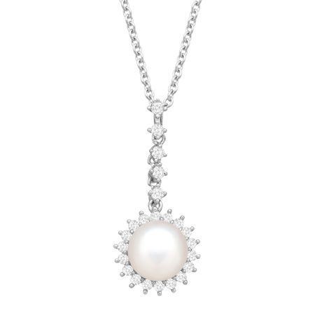 8-8.5 mm Pearl Drop Pendant with Cubic Zirconia
