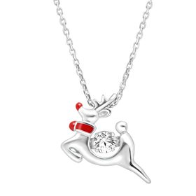 Rudolph the Reindeer Floater Pendant with Swarovski Zirconia