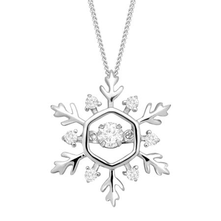 Medium Snowflake Floater Pendant with Swarovski Zirconia