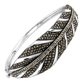 Feather Bangle Bracelet With Marcasite