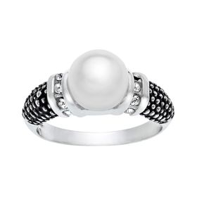 Ring with Swarovski Crystals Pearl & Crystal